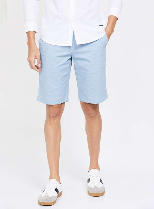 COLORPLUS Checked Slim Fit Casual Shorts