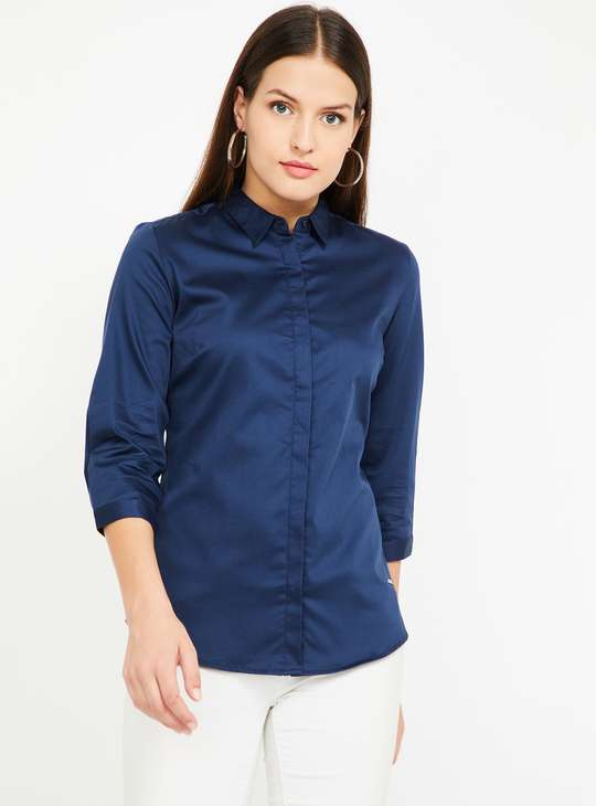 VAN HEUSEN Solid Three-quarter Sleeves Shirt