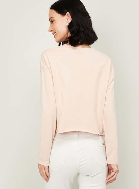 SMILEYWORLD Women Printed Cropped Sweatshirt