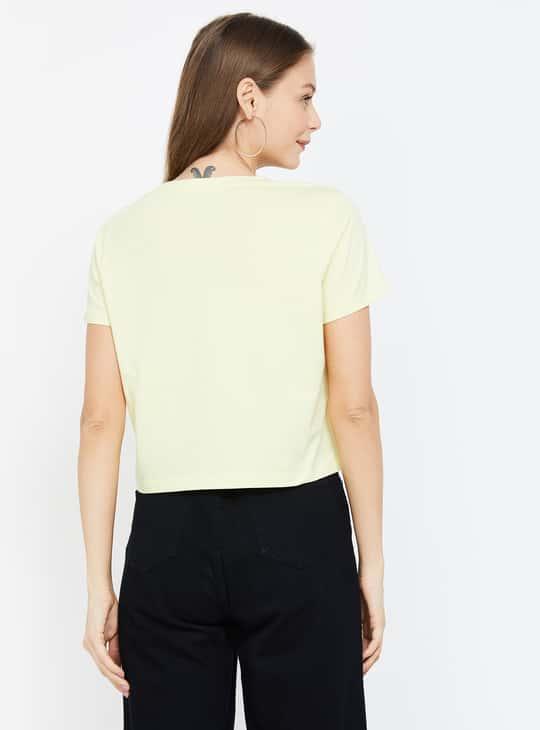 GINGER Women Printed Round Neck Crop T-shirt