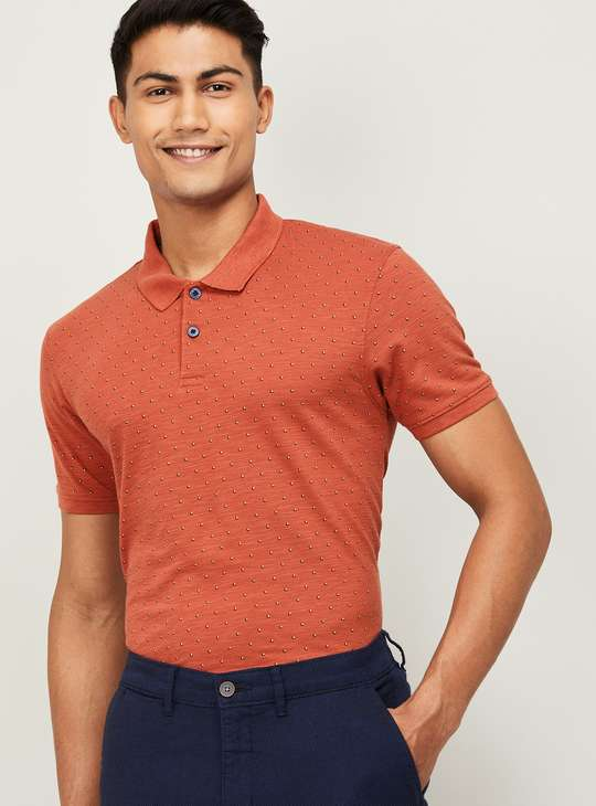 CODE Men Printed Short Sleeves Polo T-shirt