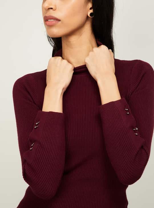 GINGER Women Ribbed High-Neck Pullover