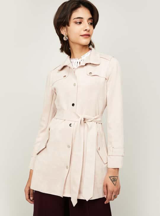 CODE Women Textured Jacket with Sash Tie-Up