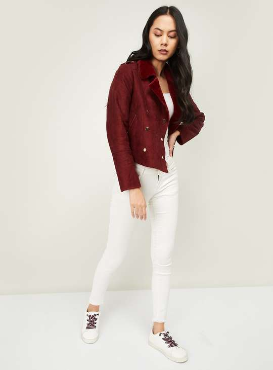 GINGER Women Textured Jacket with Notched Collar