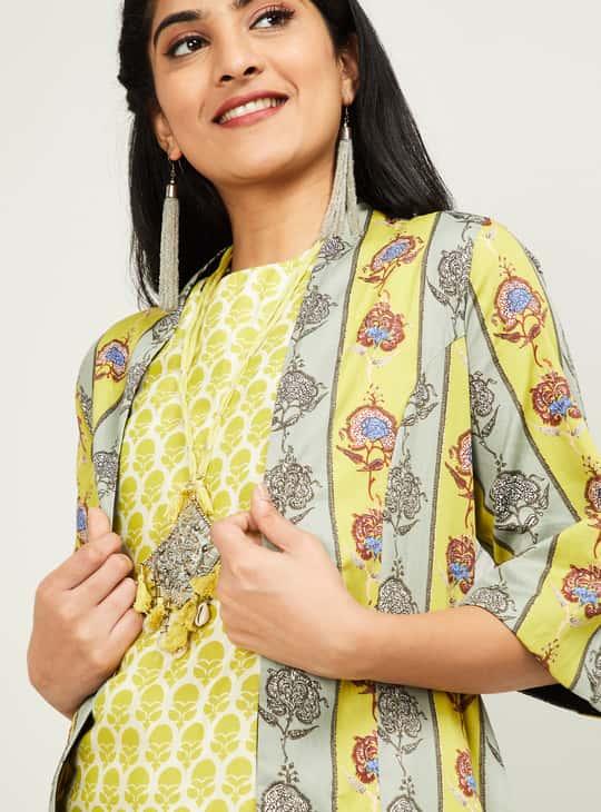 BIBA Women Printed Maxi Shrug with Solid Patialas and Sleeveless Top