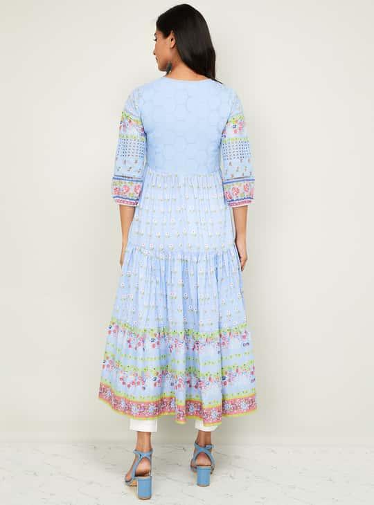 BIBA Women Floral Print Maxi Dress with Schiffli Embroidery