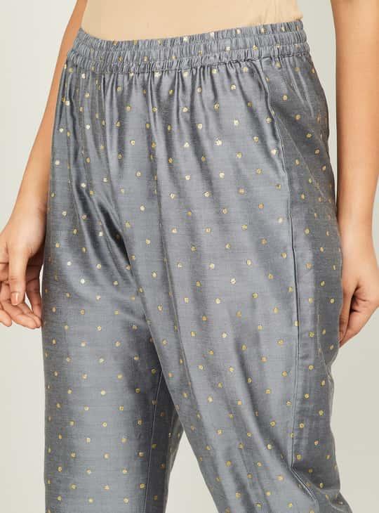 MELANGE Women Foil Print Straight Kurta with Cropped Pants