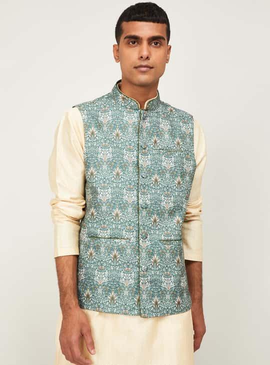 MELANGE Men Printed Regular Fit Nehru Jacket
