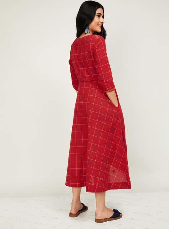 MELANGE Women Checked Midi Dress