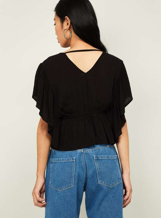 GINGER Women V-neck Empire-Line Top with Batwing Sleeves