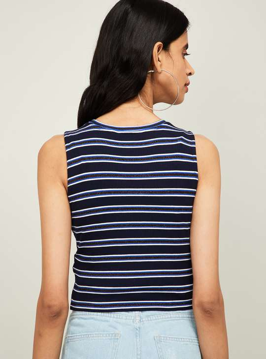 GINGER Women Striped Sleeveless Knotted Top