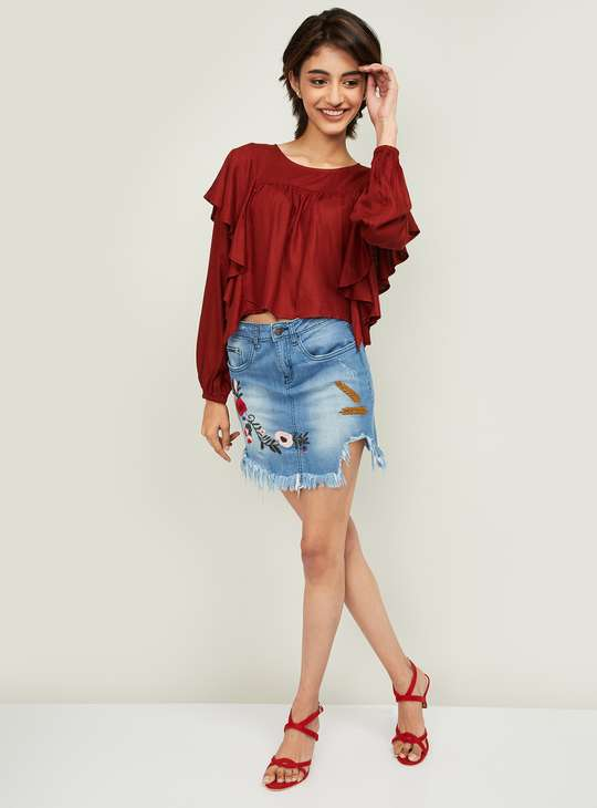 GINGER Women Solid Ruffled Top
