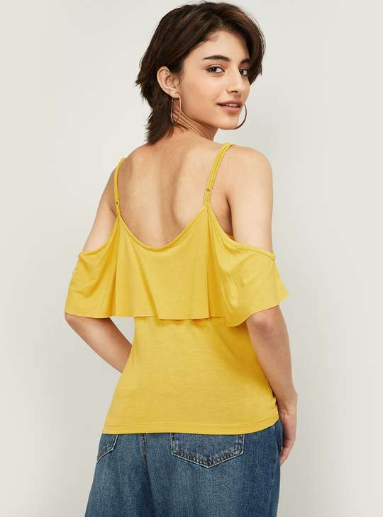 GINGER Women Solid Layered Spaghetti Top
