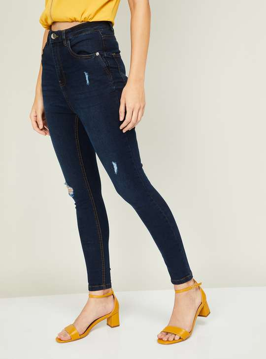GINGER Women Distressed Skinny Fit Jeans