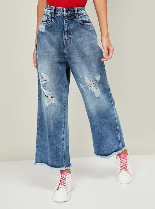 GINGER Women Stonewashed Flared Jeans