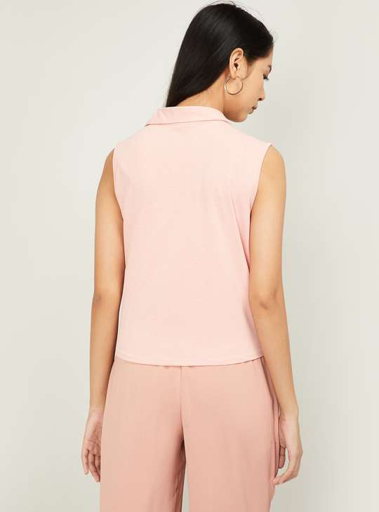 AND Women Solid Tie-Up Shirt