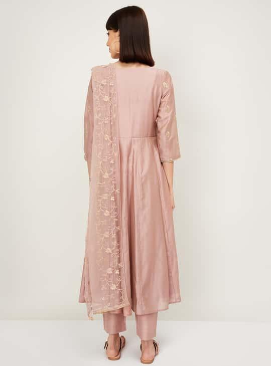 MELANGE Women Embroidered Kurta with Straight Pants and Dupatta