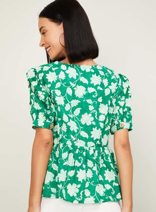 COLOUR ME Women Printed V-neck Top