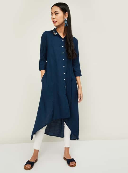 COLOUR ME Women Solid Asymmetrical Tunic