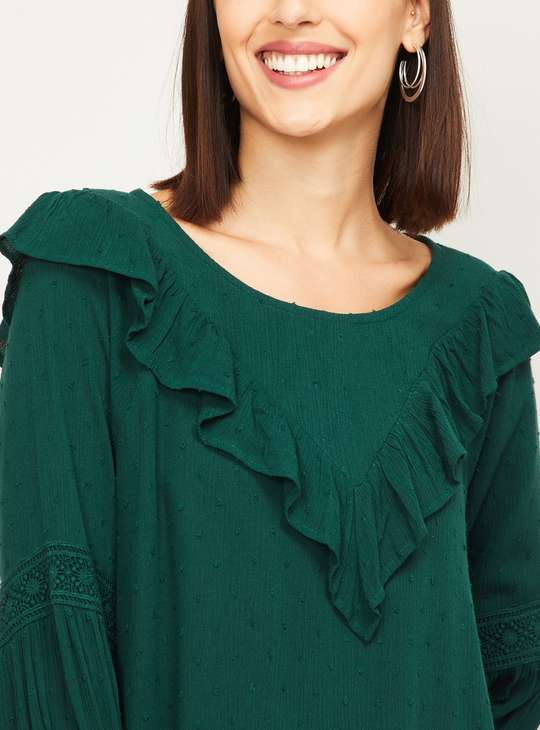FAME FOREVER Women Textured Round Neck Top