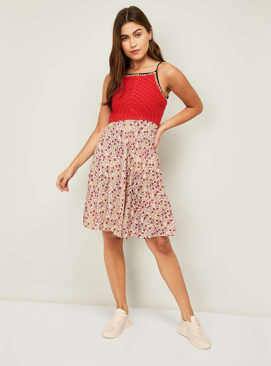 GINGER Women Knitted Floral Printed A-Line Dress