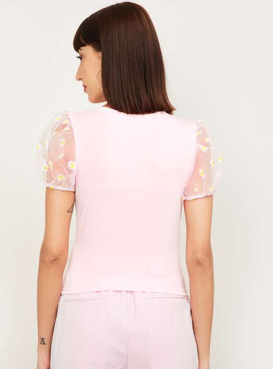 GINGER Women Solid Round Neck Top