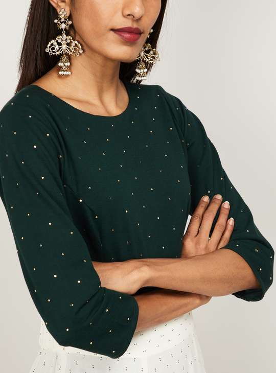 SPAN Women Embellished Ethnic Crop Top