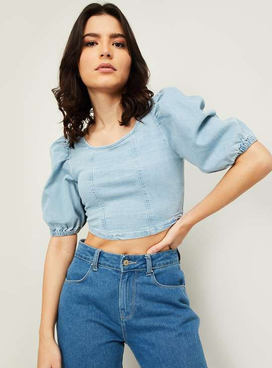 GINGER Women Solid Puffed Sleeves Crop Top