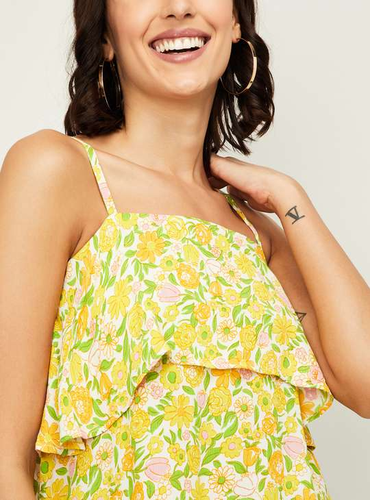 GINGER Women Floral Print Layered Spaghetti Top