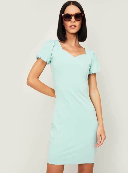 GINGER Women Textured Dress with Sweetheart Neckline