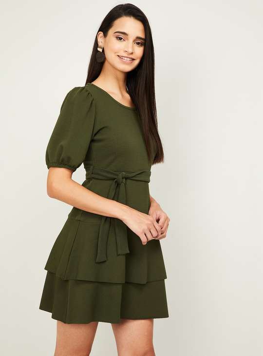 GINGER Women Solid Short Sleeves A-line Dress