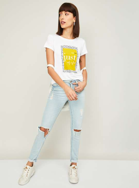 FAME FOREVER Women Printed Round Neck T-Shirt