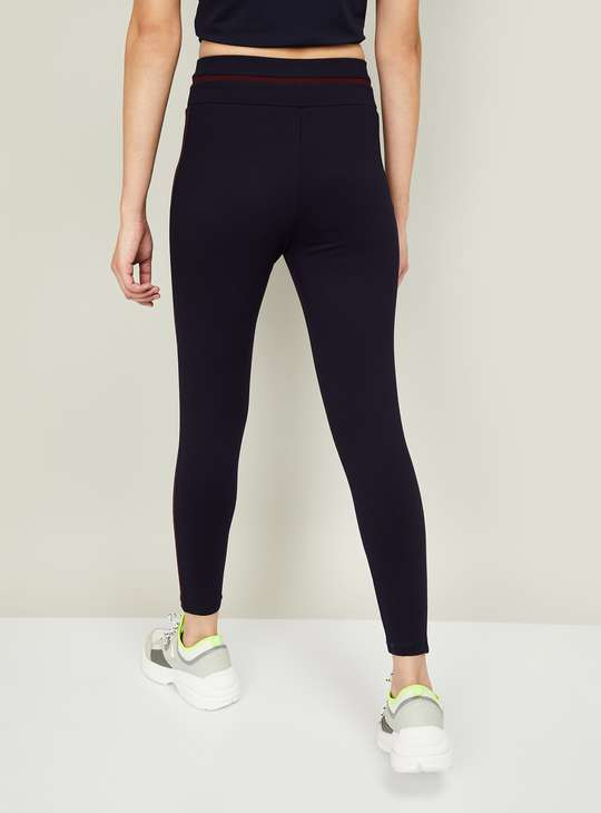 KAPPA Women Solid Tape-Detailed Tights