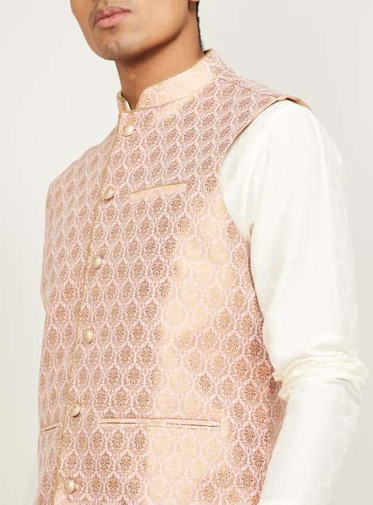 MELANGE Men Jacquard Patterned Nehru Jacket