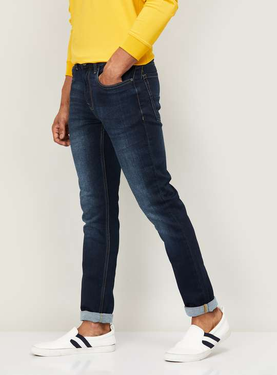 BOSSINI Men Stonewashed Slim Tapered Fit Jeans