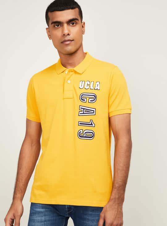 UCLA Men Typographic Print Regular Fit Polo T-shirt