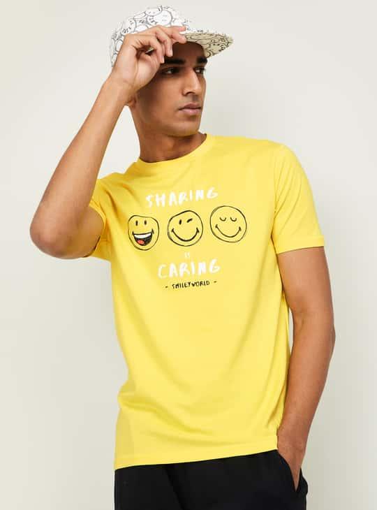 SMILEYWORLD Men Graphic Print Regular Fit T-shirt