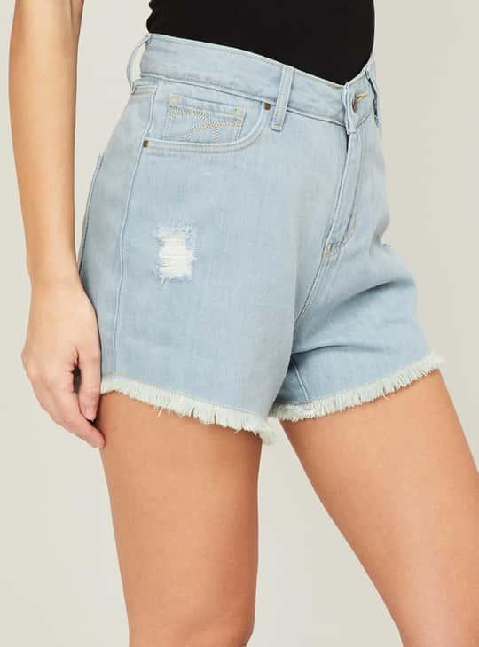XPOSE Women Distressed Frayed Hem Shorts
