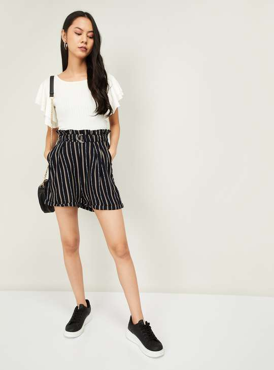 GINGER Women Typographic Print Striped Shorts`