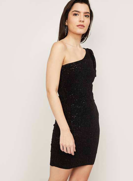 GINGER Women Sequined One Shoulder Bodycon Dress