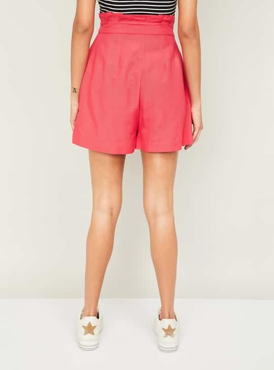 GINGER Women Solid Drawstring Shorts