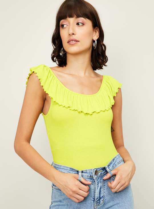 GINGER Women Solid Ruffle Detailed Top