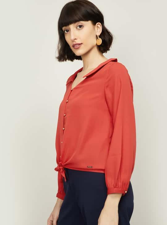 VAN HEUSEN Women Solid Tie-Up Shirt