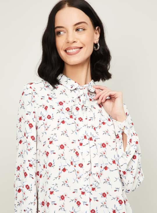 VAN HEUSEN Women Floral Print Tie-Up Neck Shirt