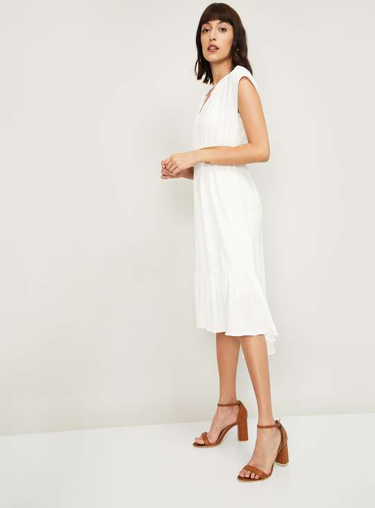 CODE Women Printed High-Low A-Line Dress with Belt