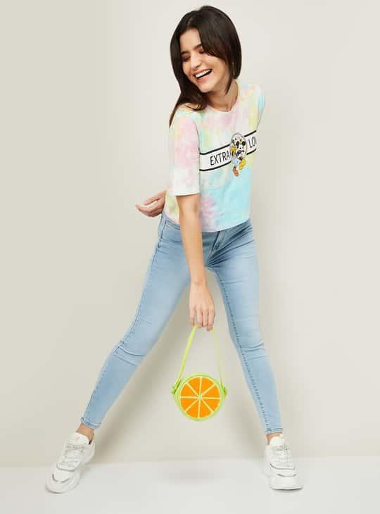GINGER Women Tie-Dye Print Round Neck T-shirt