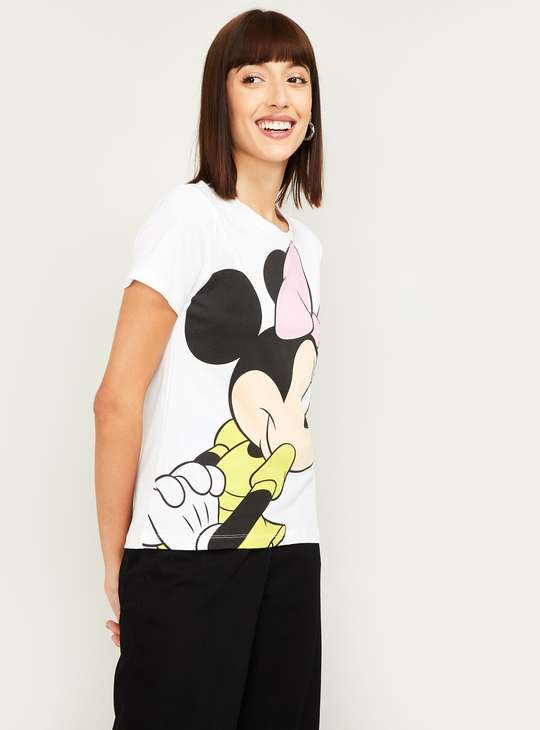 GINGER Women Mickey Mouse Print Round Neck T-shirt