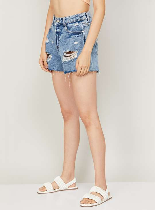 GINGER Women Stonewshed Denim Shorts