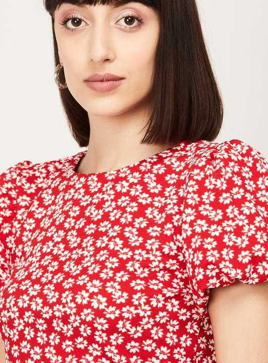 GINGER Women Floral Print Puff Sleeves Top