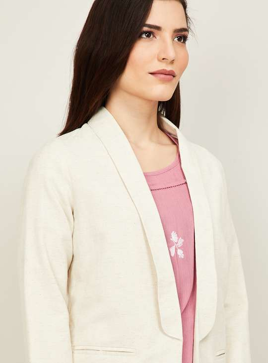 BOSSINI Women Solid Open-Front Jacket